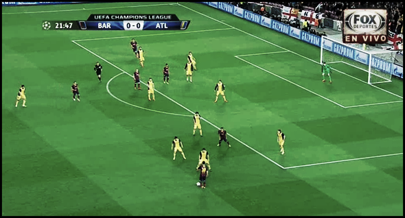 (1) Acumulación de jugadores por detrás del balón, protegiendo el centro. Leo Messi con Koke, Villa y Tiago.