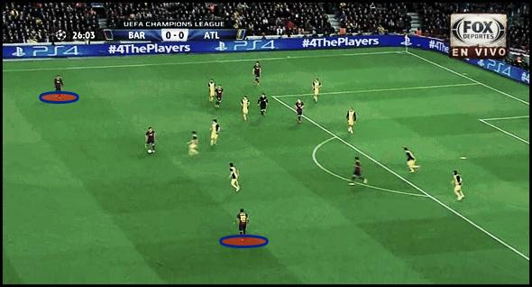 (2) De manera alternativa, Dani Alves y Jordi Alba van regulando sus incorporaciones al ataque.