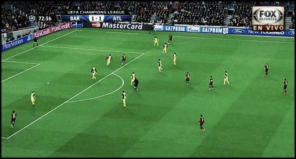 (3) El Atlético de Madrid está estirado. Por un lado Alves sujeta a Filipe Luis, por el otro Juanfran está pendiente de Neymar. Se genera distancia entre centrales y laterales.