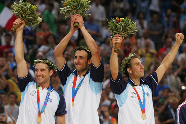 Ginobili of Argentina celebrates after mens Olympic basketball gold medal victory in Athens