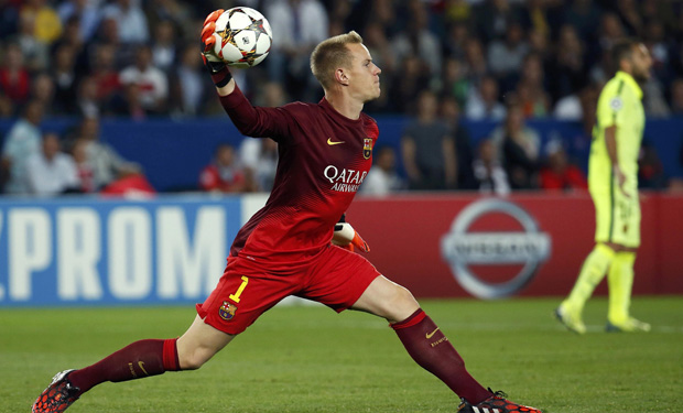 Barcelona's goalkeeper ter Stegen throws the ball to his team mates during their Champions League Group F soccer match against Paris St Germain at the Parc des Princes Stadium in Paris